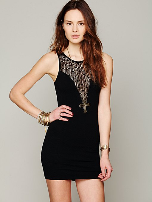Deep V Textured Bodycon