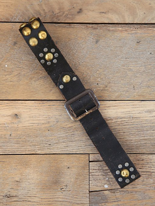 Free People Vintage Distressed Leather Studded Belt in Vintage-Belts