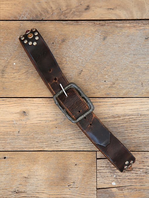 Free People Vintage Studded Distressed Leather Belt in Vintage-Belts