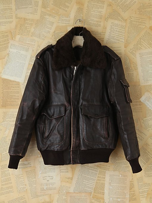 Free People Vintage WWII Leather Bomber Jacket in vintage-jackets