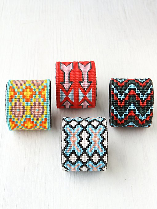 Beaded Design Large Cuff in accessories-jewelry-bracelets-friendship-wrap