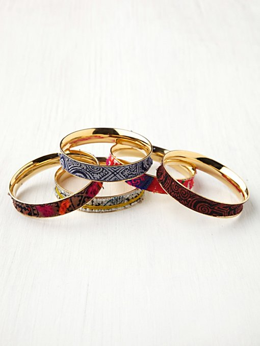 Vintage Fabric Hard Bangle in sale-sale-under-70