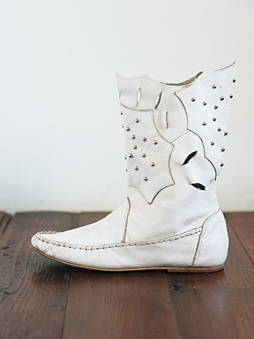 Free People Vintage White Leather Laser Cut Boots