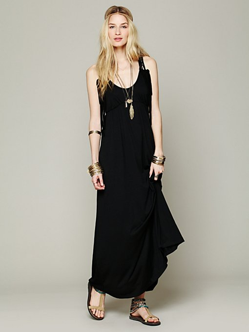 Staci Woo Roadtrip Macrame Maxi in black-maxi-dresses
