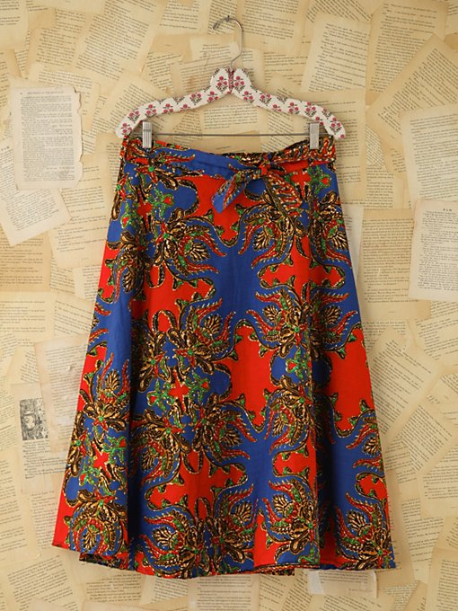 Free People Vintage Floral Printed Wrap Skirt in vintage-skirts