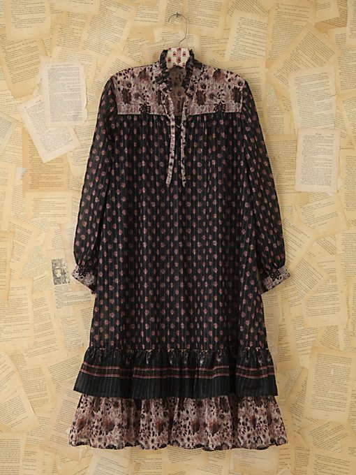 Free People Vintage Sheer Printed Boho Dress in Vintage-Dresses