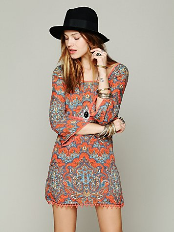 Printed Square Neck Mini Dress