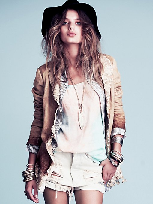 Free People Suede and Lace Jacket in designer-brand-clothing