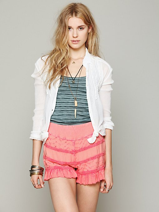 Free People Tiered Ruffle Skort in Skorts
