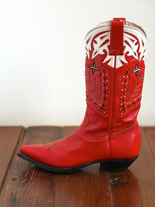 Free People Vintage Red Leather Cowboy Boots in vintage-shoes