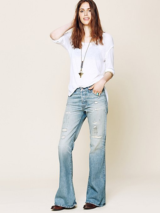 Hi Rise Destructed Flare in denim