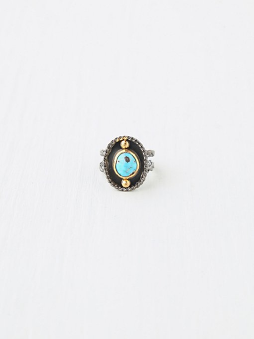 Mixed Metal and Turquoise Ring in boho-jewelry