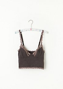 Leopard Trim Crop Bra in intimates-bras