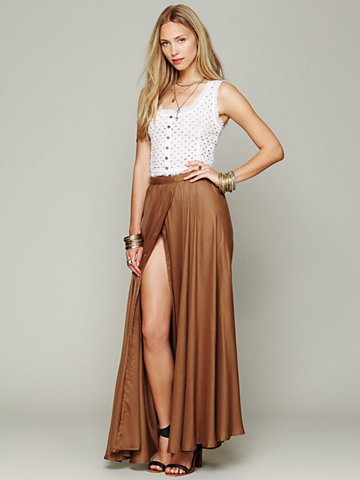 Free People Flowly Slit Skirt in maxi-skirts