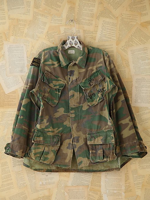 Free People Vintage Camo Poncho in vintage-jackets
