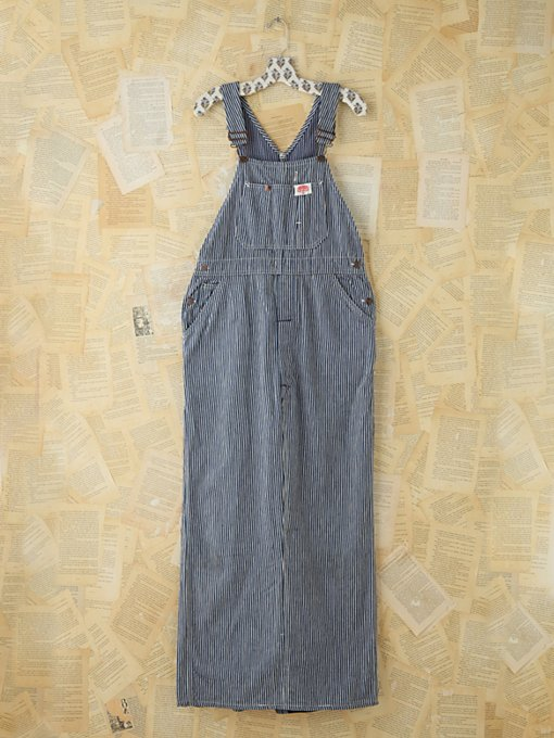 Free People Vintage Railroad Striped Overall Maxi Dress in vintage-jeans