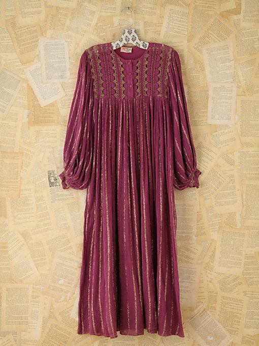 Free People Vintage Metallic Striped Boho Dress  in Vintage-Dresses