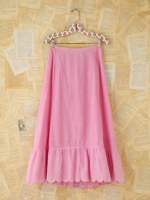 Free People Vintage Pink Embroidered Skirt in vintage-skirts