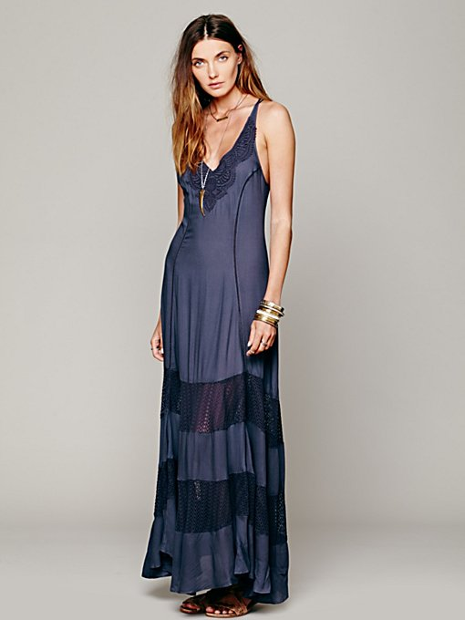 Scallop Chevron Maxi Slip in clothes-dresses-maxi