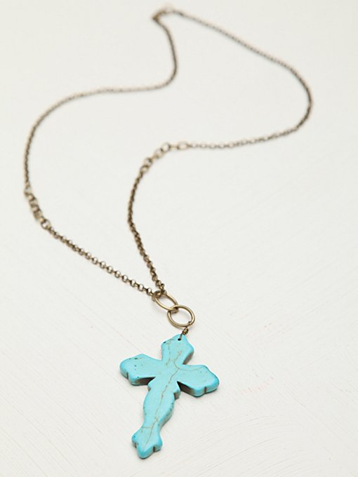 Stone Cross Pendant in bohemian-necklaces