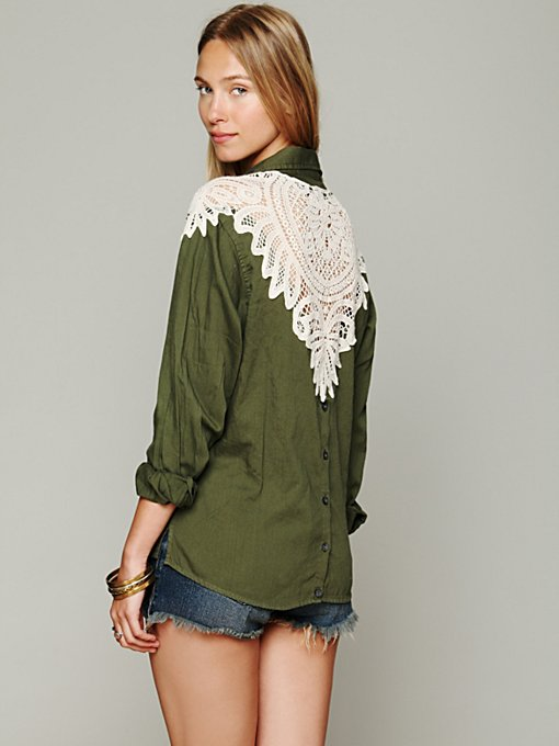 Olive Cutwork Buttondown in clothes-shirts
