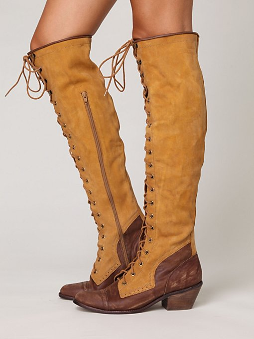 Jeffrey Campbell + Free People Two Tone Joe Lace Up Boot in Knee-High-Boots