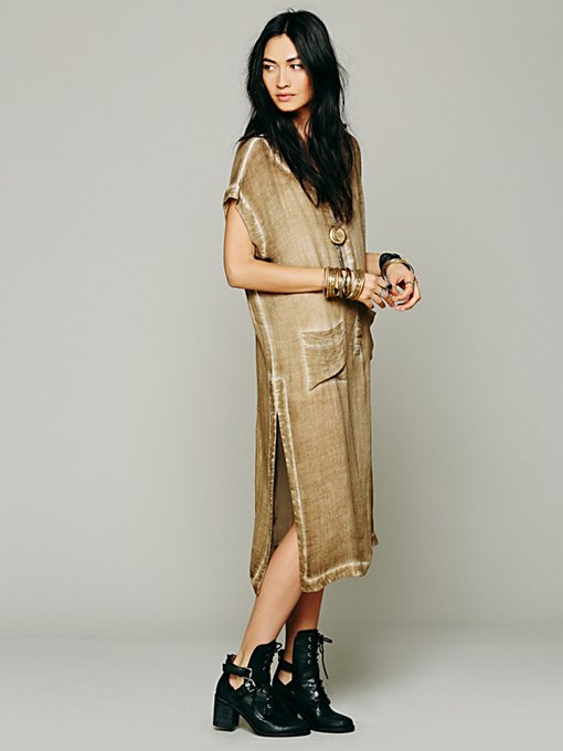Free People Short-Sleeve 2 Pocket Maxi Top in Dresses