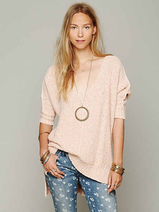 Free People Oversized Short Sleeve Pullover in knit-tops
