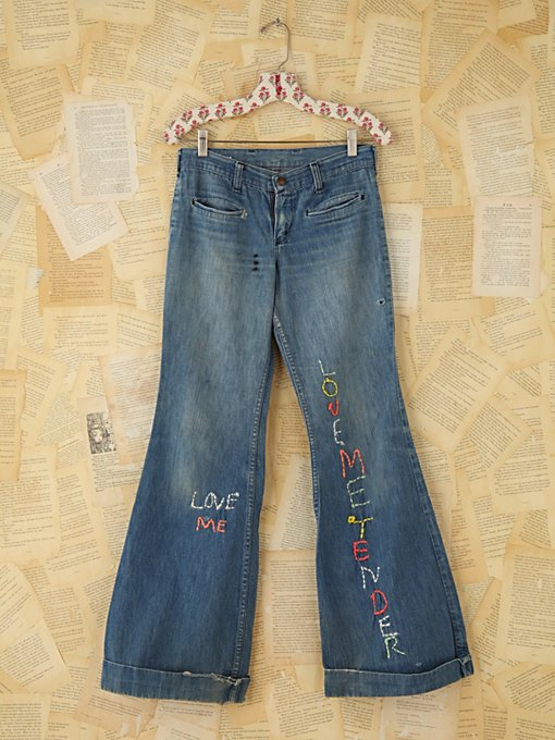 Free People Vintage Wrangler Embroidered Flares in vintage-jeans