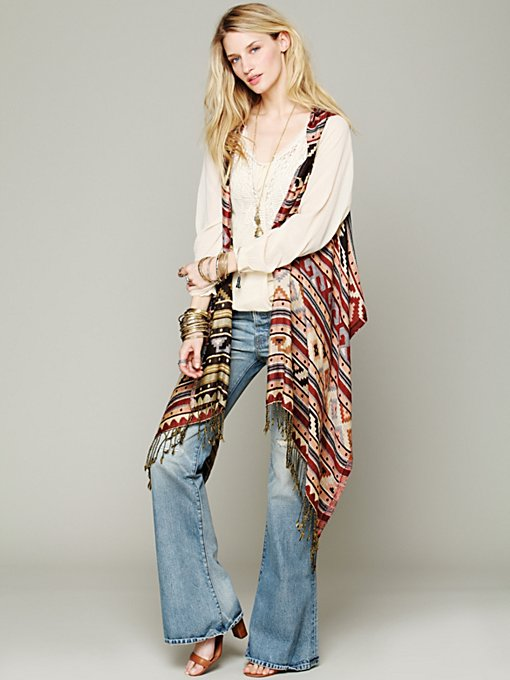 Free People Mojave Reversible Poncho Vest in scarves