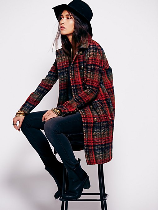 Plaid Cacoon Wool Coat