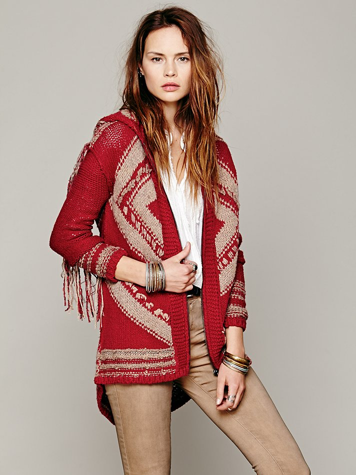 FREE PEOPLE GEO FRINGE HOODED CARDIGAN on The Hunt