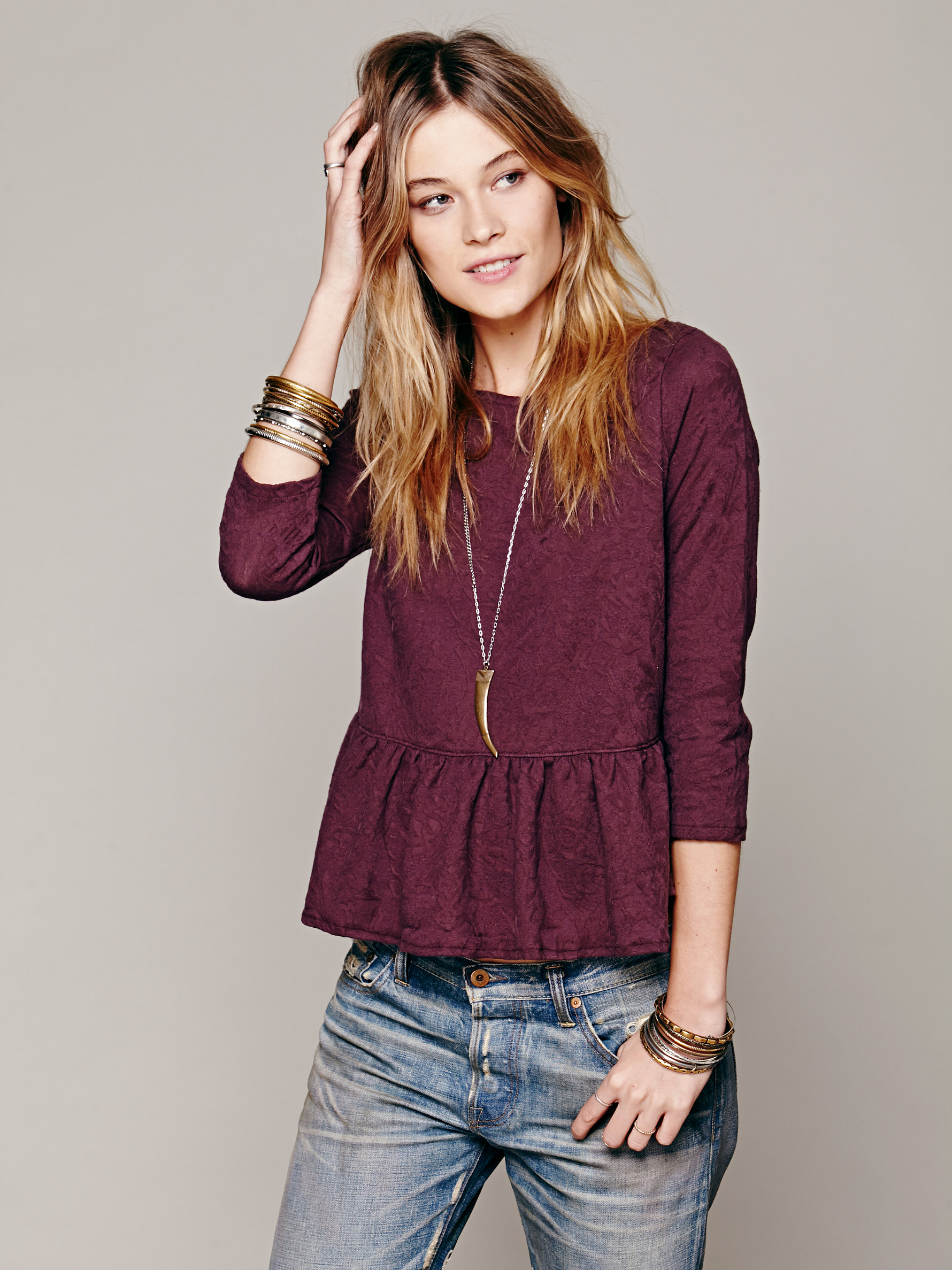 Free People Womens Textured Boxy Peplum Top | Pinterest Picks - Pretty Blouses to Feast In