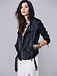 Hooded Biker Leather Jacket