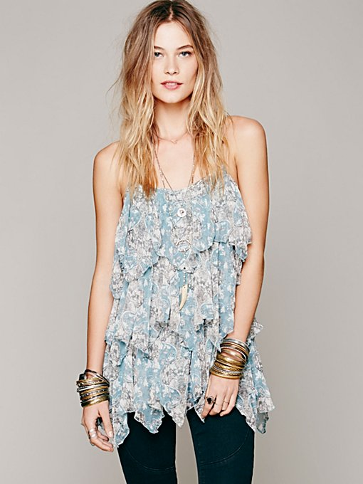 Free People Floral Print Sleeveless Ruffle Tunic