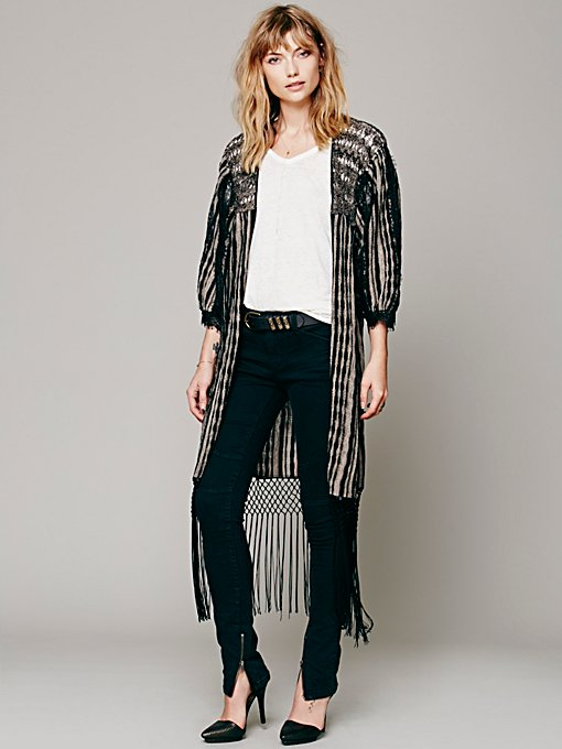 Free People Fringed Lines Cardigan