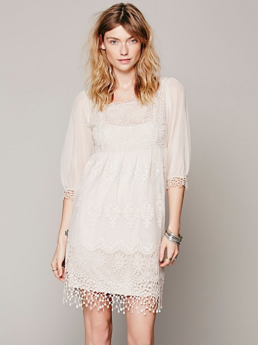 Free People Empire Mesh Lace Dress in Dresses